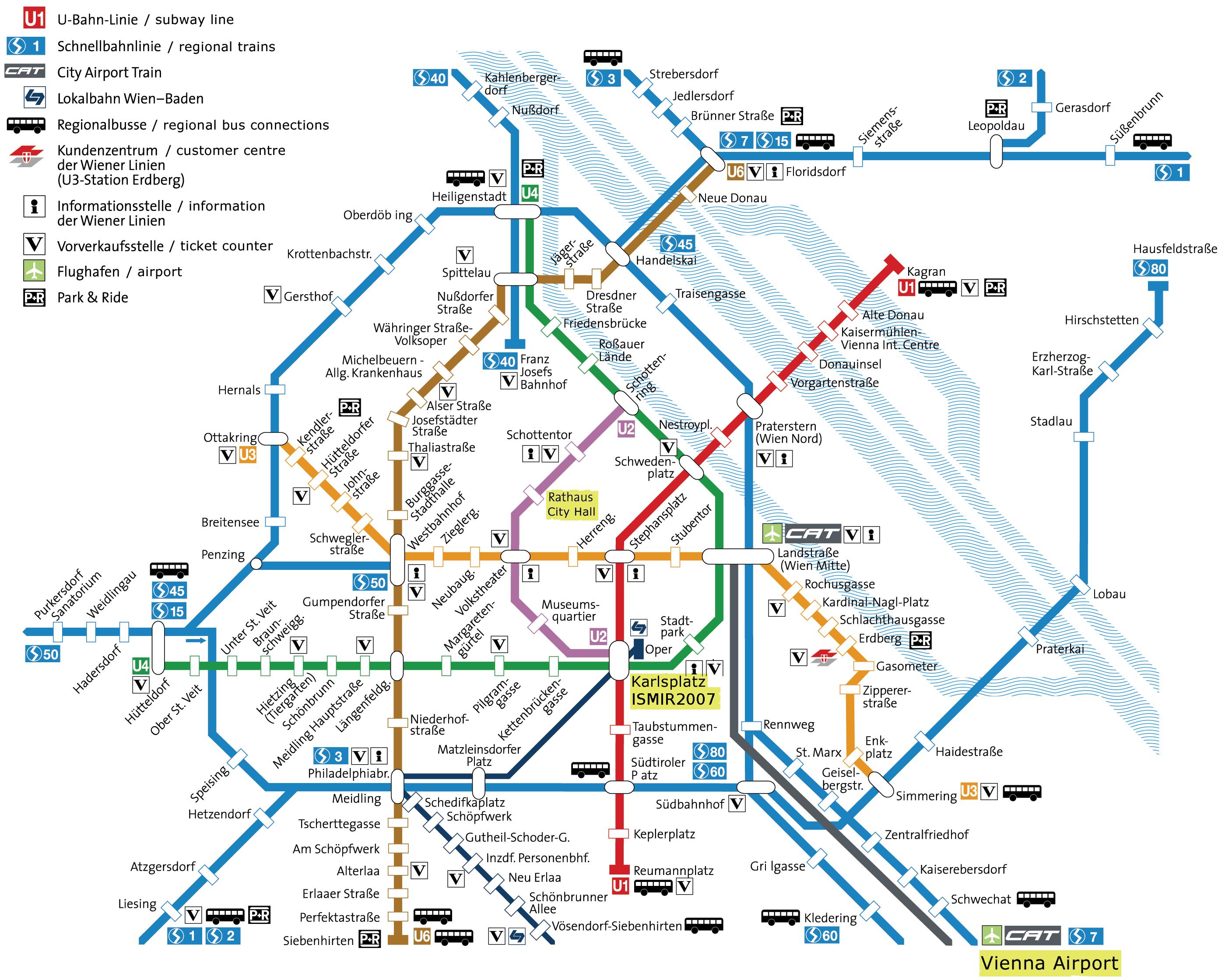 Vienna u Bahn Haritası s ve u Bahn Haritası.4